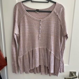 Free People Henley Hi Low Long Sleeve